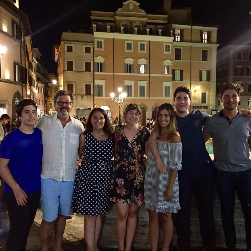 Aldo Cundari Family Posing For Evening Photo In Italy