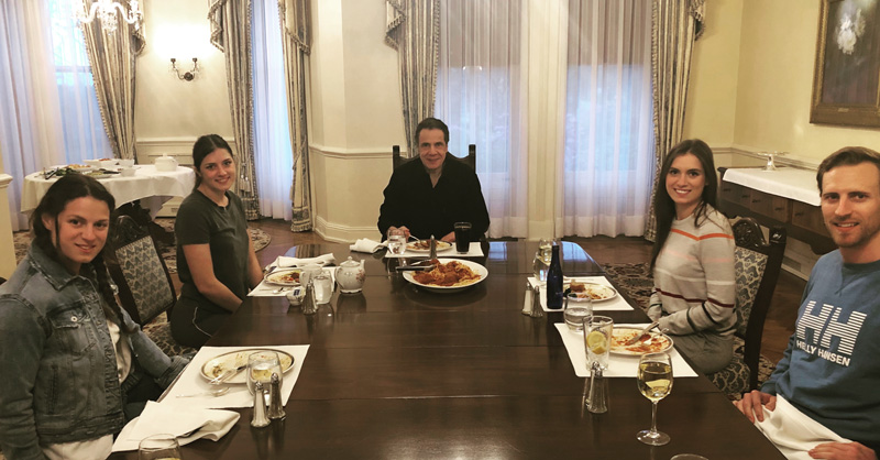 Andrew Cuomo Sitting At Table For Sunday Dinner With Family
