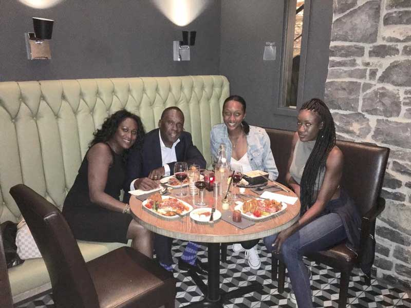 Bruny Surin Having Supper With His Wife and 2 Daughters