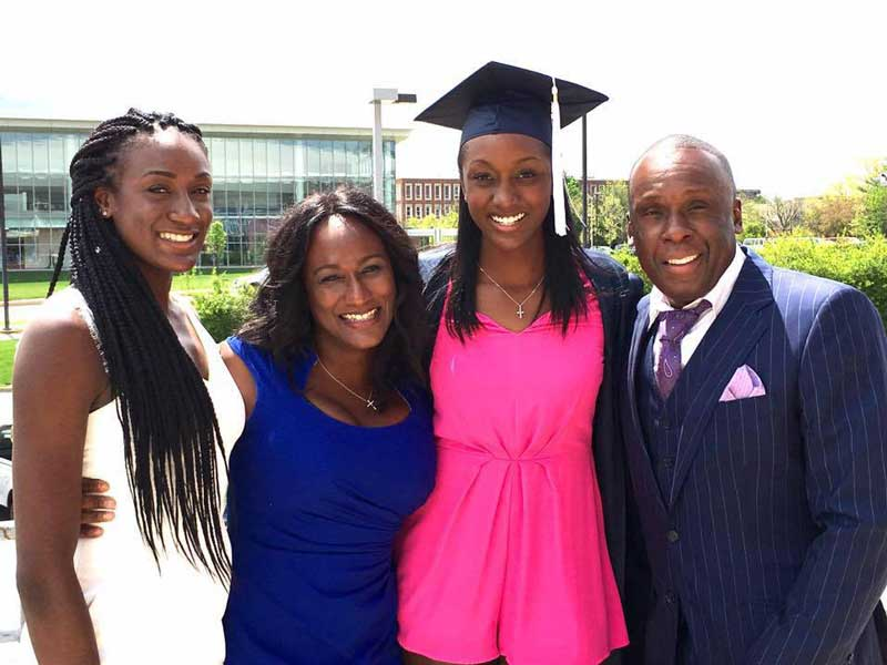 Bruny Surin Posing With Family At Daughters Graduation