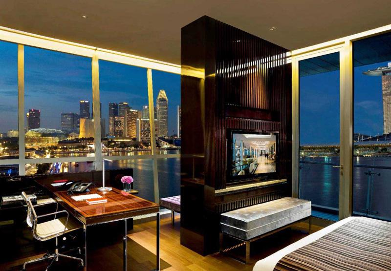 Hotel Room of The Fullerton Bay Hotel Singapore Overlooking Marina Bay