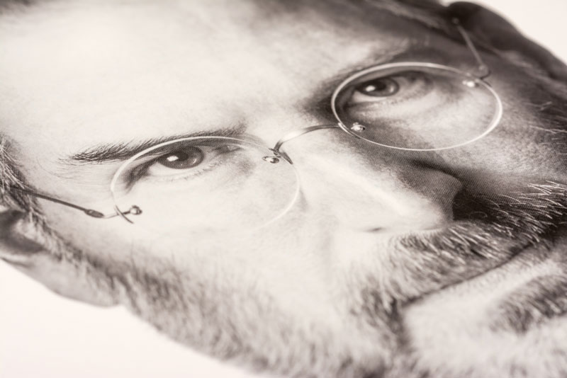 Black And White Close Up Photo Of Steve Jobs