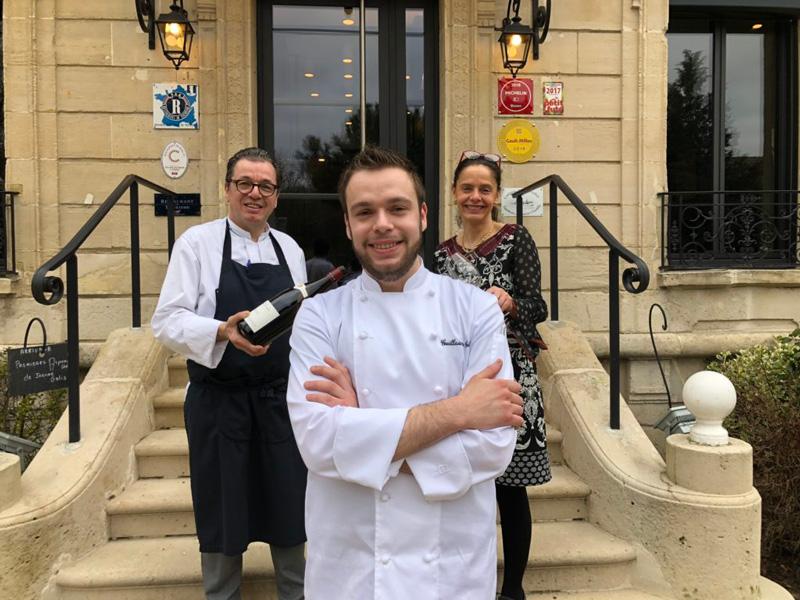 Chef Guillaume Guibet Standing In Front Of Le Verbois Restaurant With Mother and Father