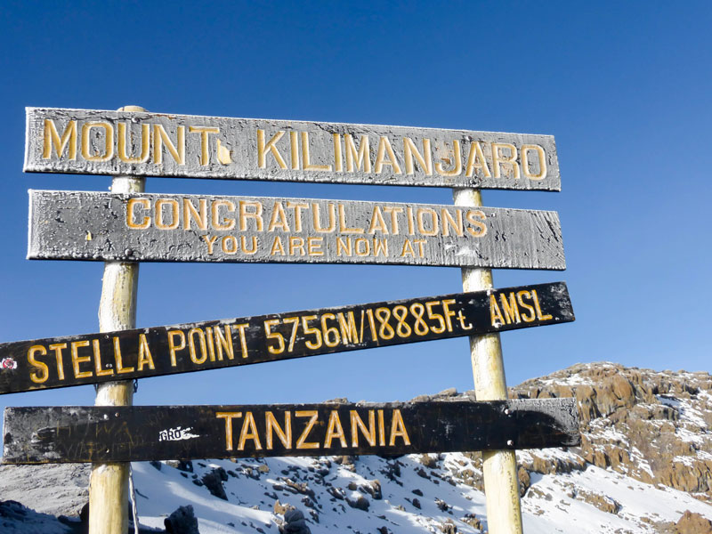 Mount Kilimanjaro Tanzania Congratulation Summit Sign