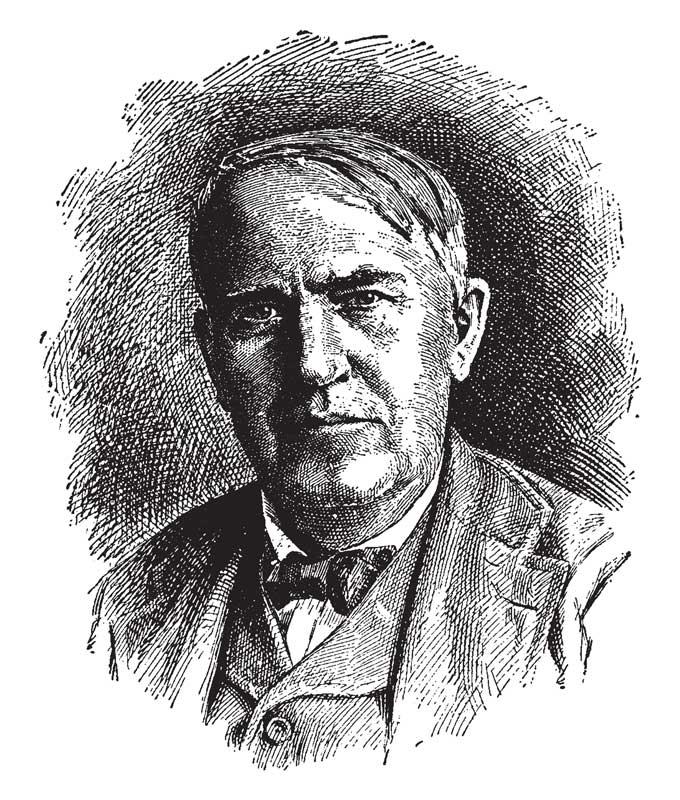 Etched Illustration Of Thomas Edison