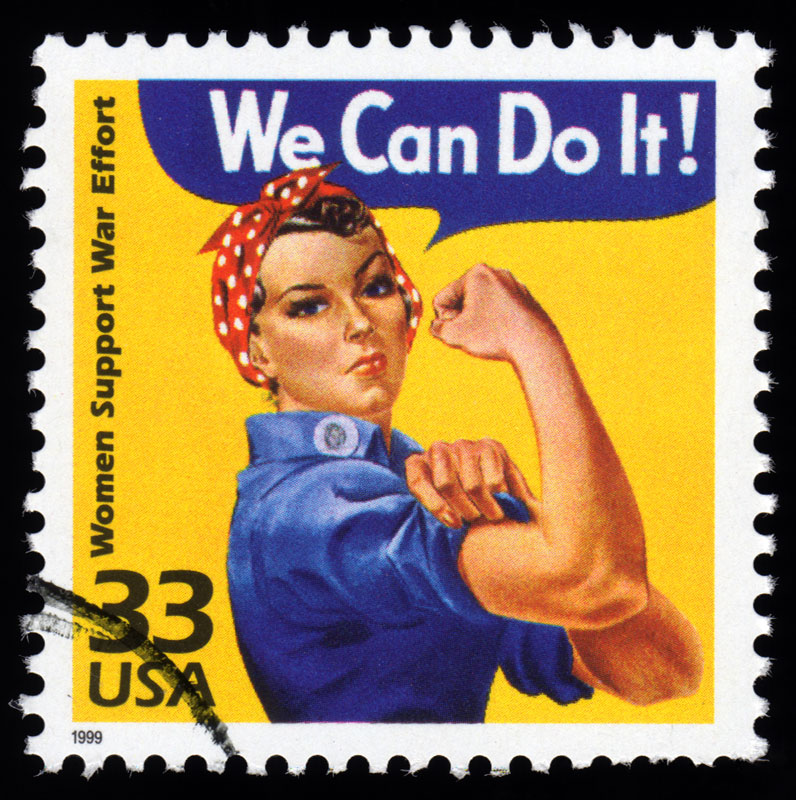 Vintage Stamp With We Can Do It Slogan And Woman Flexing Muscle