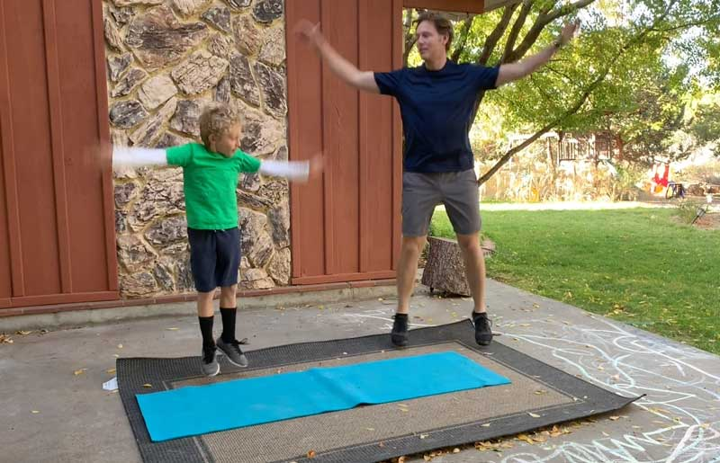 Sorren Harrison of Fit Daddy 365 Doing 50 Jumping Jacks With Son