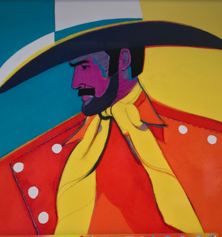 Painting of Cowboy By Frank Palmer Titled Big White Hat Cowboy