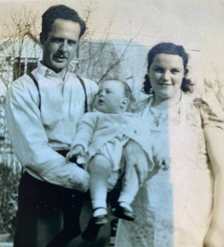 Baby Photograph Of Frank Palmer In Arms of Parents