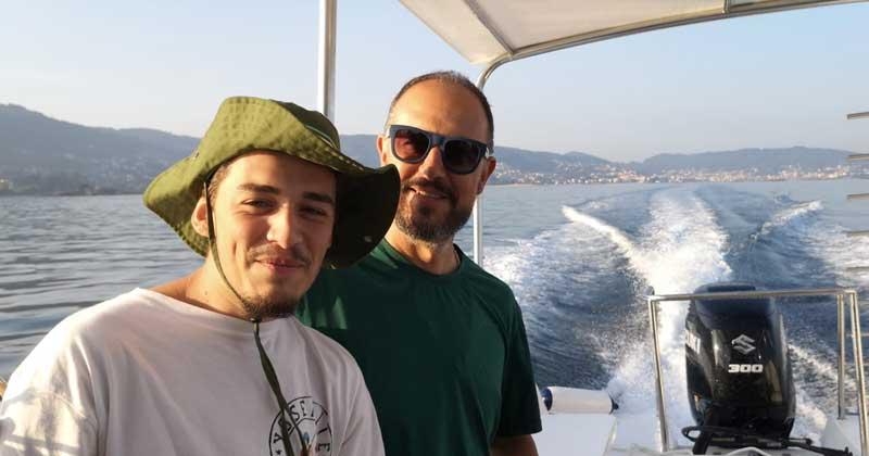 Nuno Santos Fernandes With Son On Boat