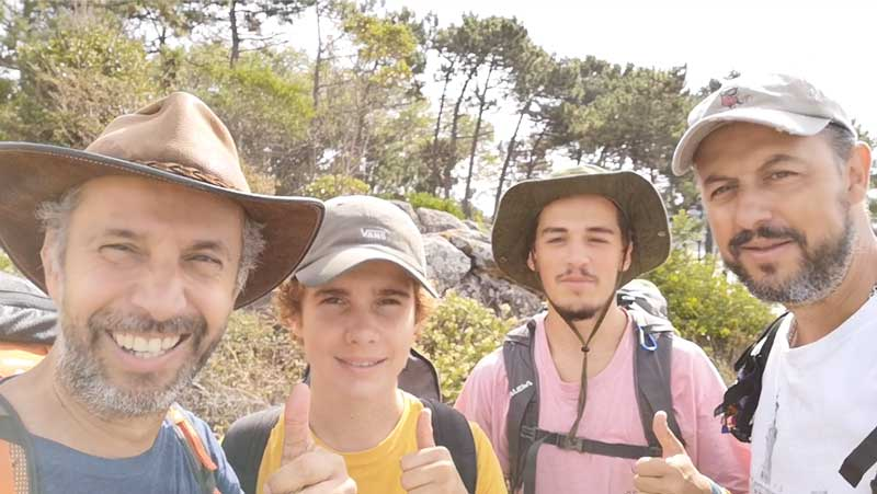 João Perre Viana And Nuno Santos Fernandes With Their Sons Giving A Thumbs Up