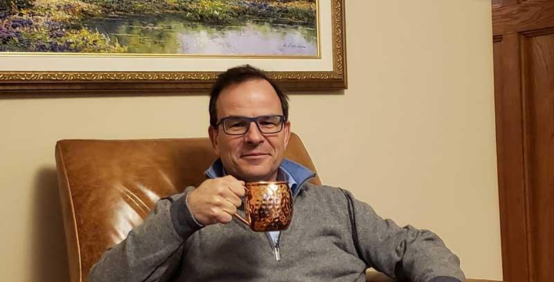 John Boynton Relaxing At Home Having A Cup Off Coffee