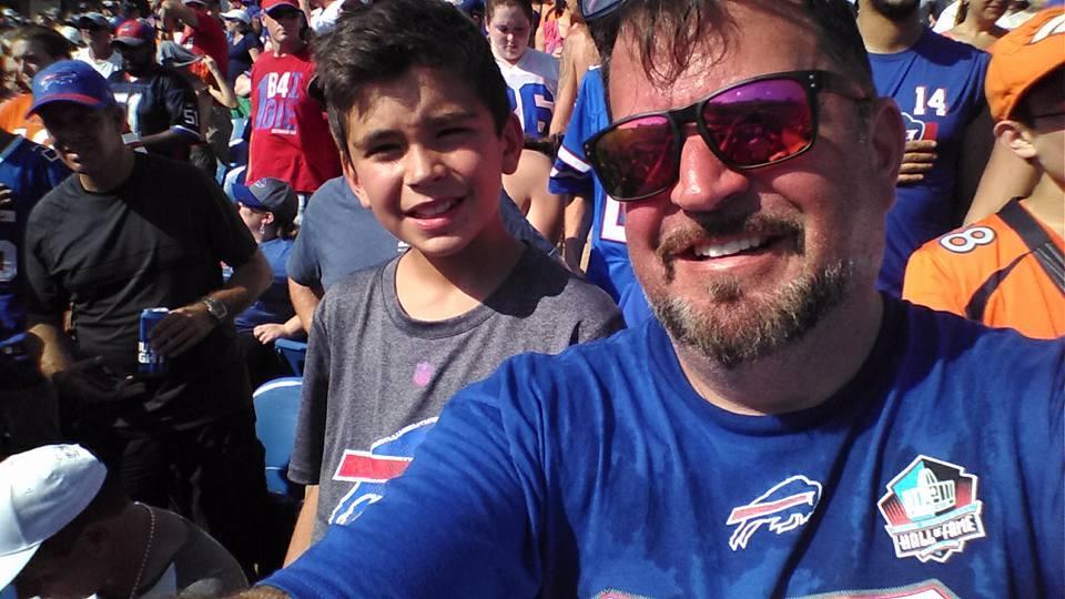 John Vellinga Taking Selfie Photo With Son At Buffalo Bills Football Game