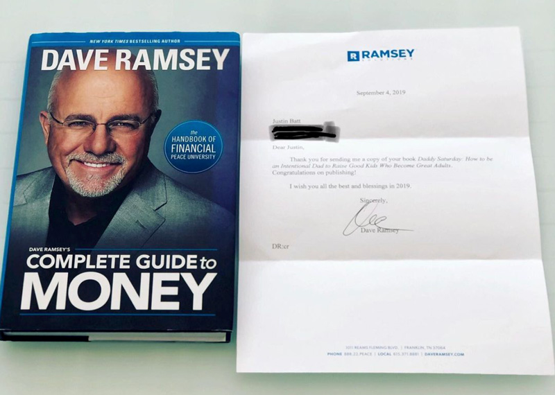 Dave Ramsey Book Cover And Letter To Justin Batt