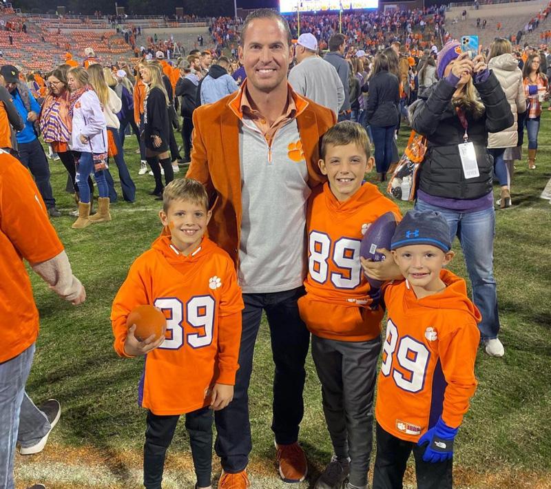 Justin Batt At Clemson College Football Game With His Children