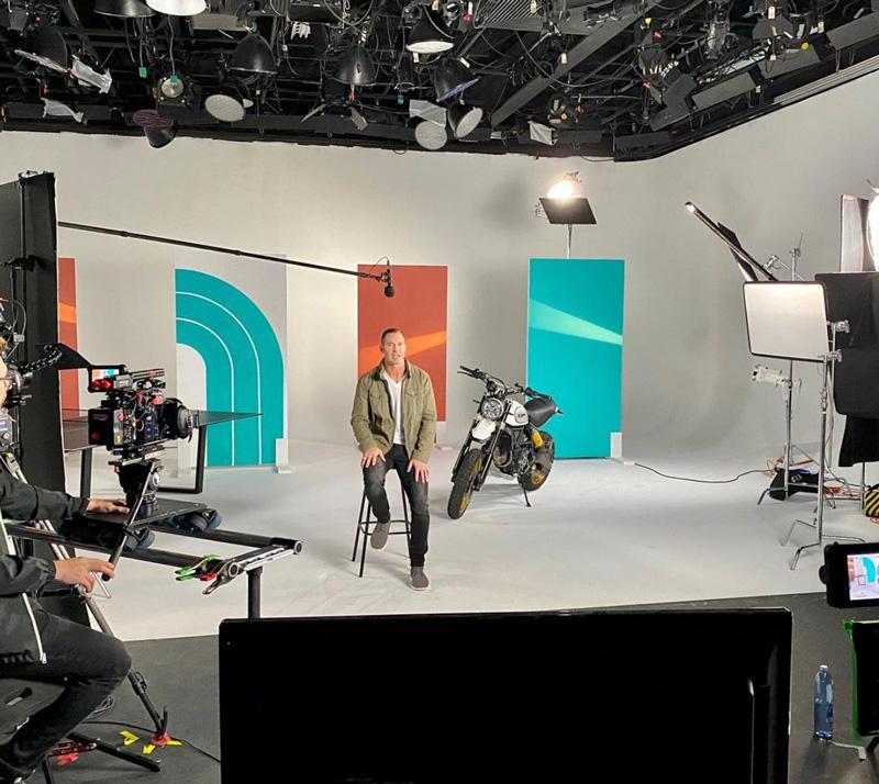 Justin Batt Making Video In Studio For A DadBoss Episode