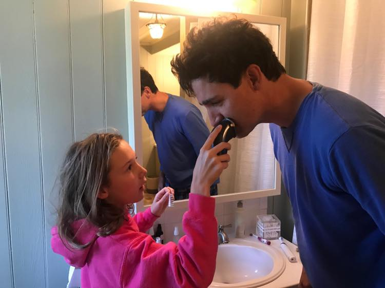 Justin Trudeau Having Daughter Ella-Grace Shave His Beard