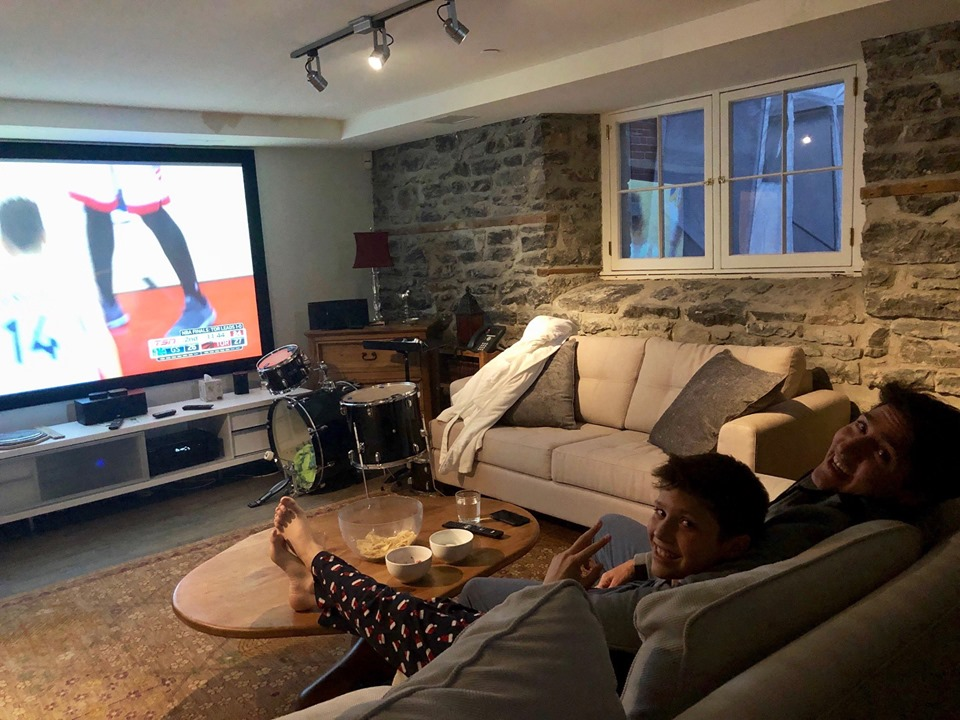 Justin Trudeau And Son Xavier Relaxing On Sofa Warchin Toronto Raptors Game On Television