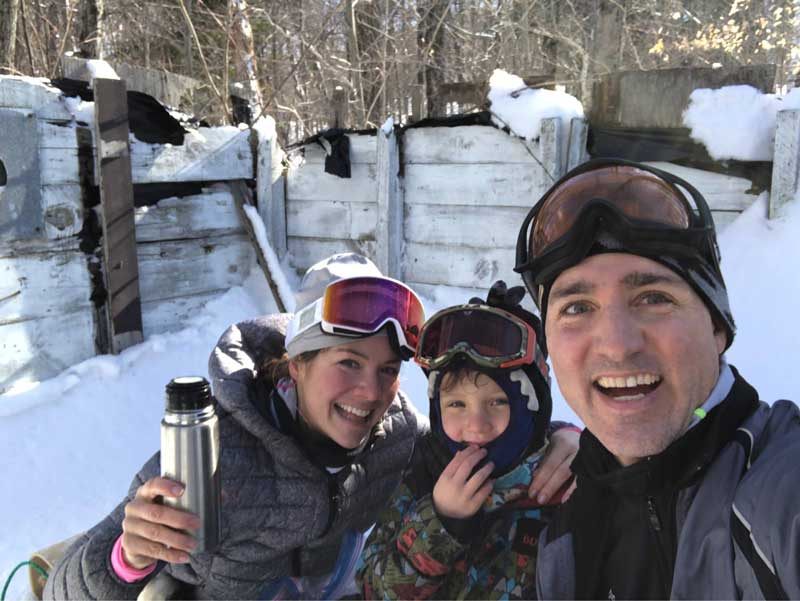 Winter Photo of Justin Trudeau Selfie With Wife Sophie and Son Hadrien