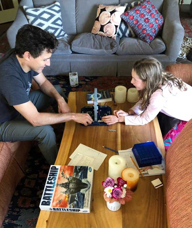 Justin Trudeau And Daughter Ella-Grace Playing Battleship Game At Home