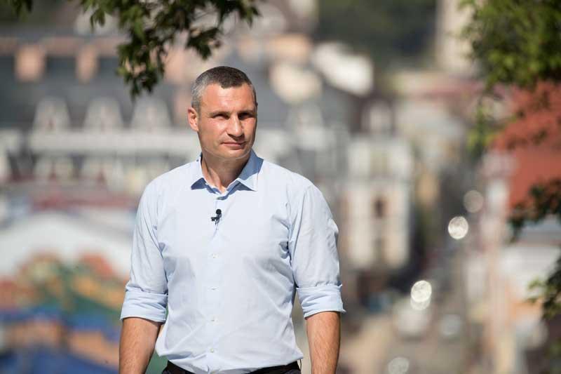 Mayor Vitali Klitschko Sleeves Rolled Up Overlooking City Of Kyiv Ukraine