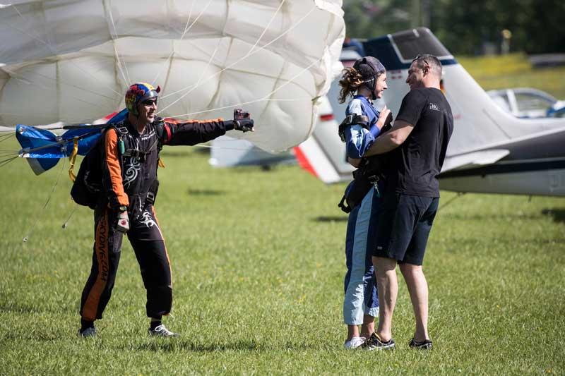 Vitali Klitschko Holding His Daughter After Her Safe Return From Skydiving