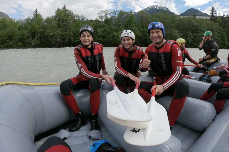 Vitali Klitschko With His Kids Whitewater Rafting In Austria Giving Thumbs Up