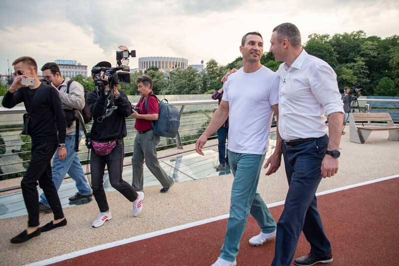 Vitali Klitschko And Brother Wladimir Klitschko Walking On New Pedestrian Bridge In Kyiv Ukraine