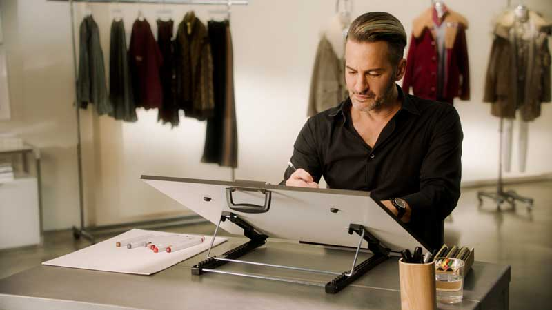 Fashion Star Mark Jacobs Concentrating On A Drawing In His Studio