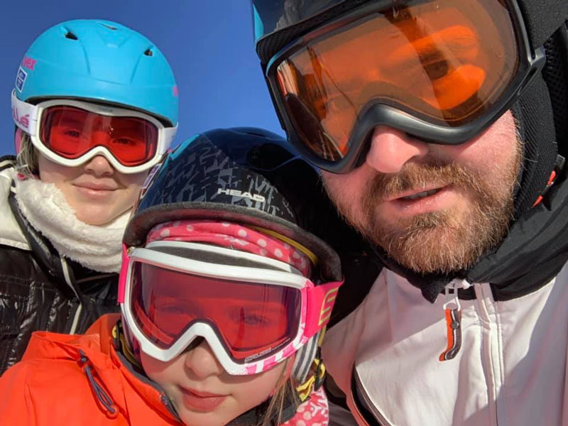 Mikhail Pimenov With Daughters On Ski Vacation At Limone Piemonte Italy