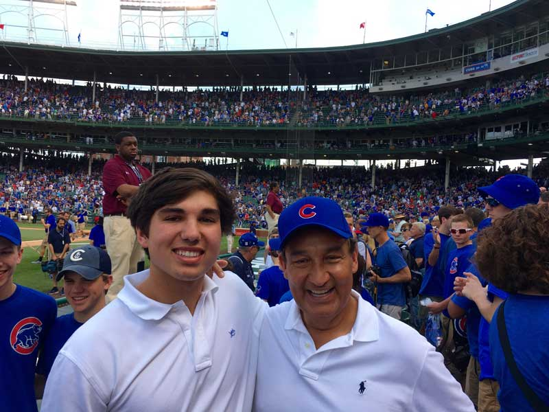 Oscar Munoz With Son At Chicago Cubs Baseball Game At Wrigley Field