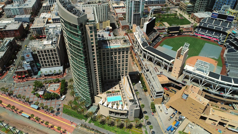 The Omni Hotel San Diego Arial View With Petco Stadium In Frame