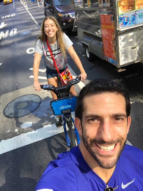 Ziad Awad Cycling In New York City With Daughter Julie