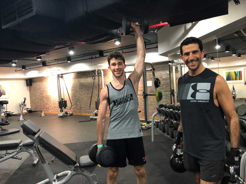 Ziad Awad And His Son Anthony Working Out In Fitness Gym