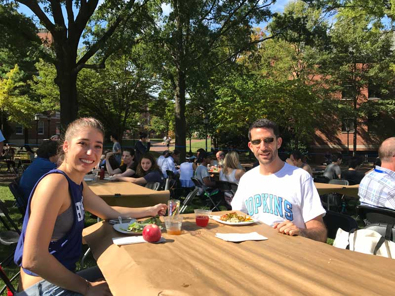 Ziad Awad With Daughter Having Lunch At Johns Hopkins University In Baltimore Maryland USA