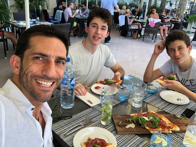 Ziad Awad Having Lunch With His 2 Sons In Dubai