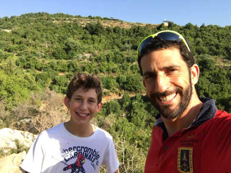 Ziad Awad With Son Lucas Mountain Hiking In Lebanon