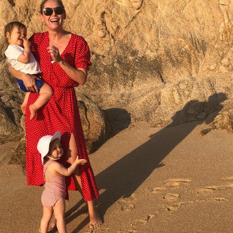 Robert Herjavec Wife With Children On Beach