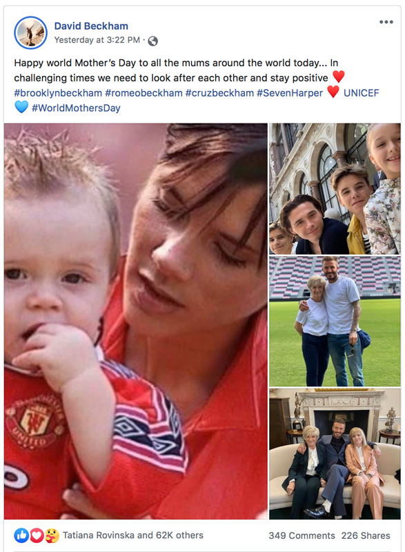 Photo Collage Of David And Victoria Beckham And Family