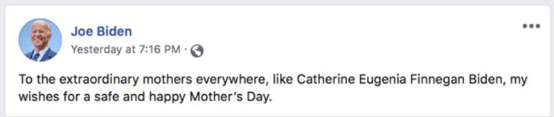 Joe Biden Happy Mother's Day Message On Facebook